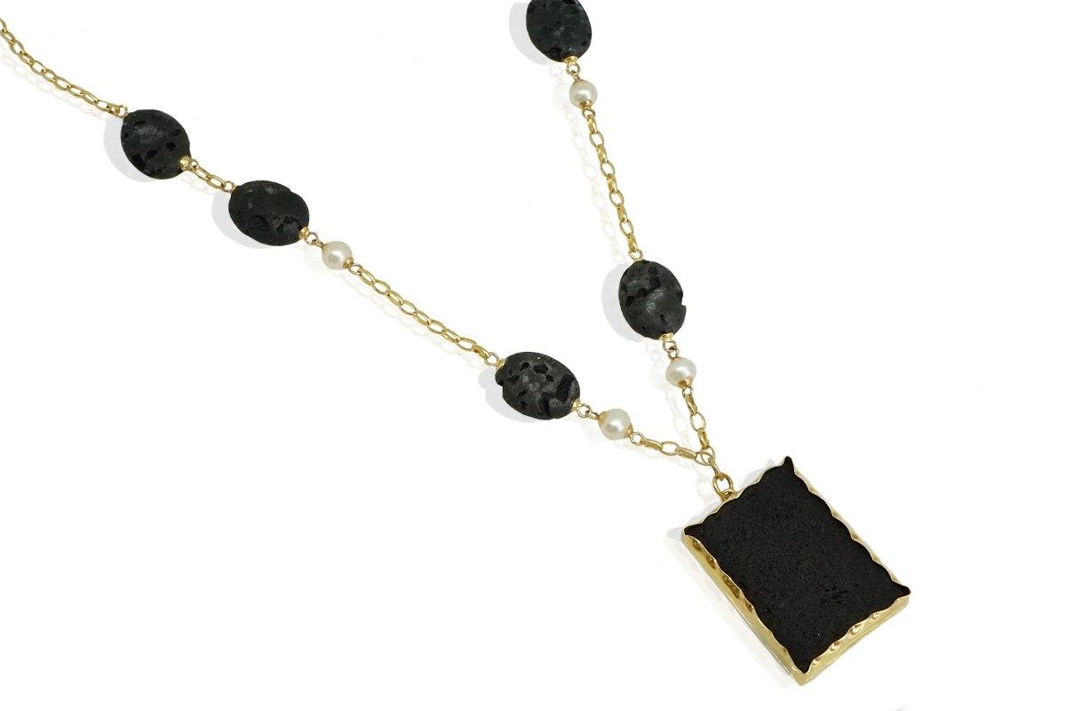 שרשרת זהב ארוכה לנשים עם פנינים ואבן לבנה טבעית