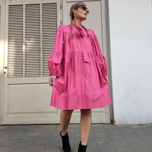 שמלת BOW כותנה - ורוד פוקסיה