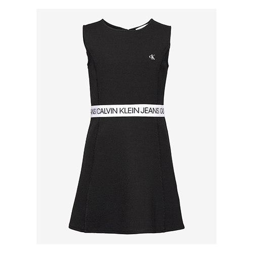 שמלה שחורה עם פס לוגו לבן CALVIN KLIEN - מידות 4-16