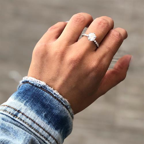 טבעת דמוי יהלום כסף 925