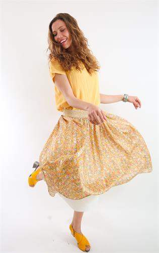 חצאית שיפון פרחונית צהובה