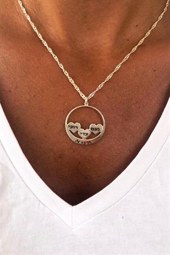 שרשרת 4/לבבות עיגולים עם חריטה - כסף 925 / גולדפילד