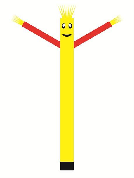 בובת דנסר רוקדת בגובה 6 מטר - צבע צהוב ידיים כתום