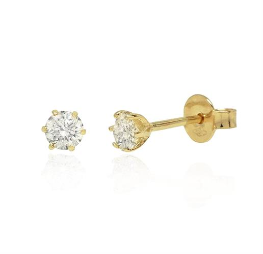 עגילי זהב משובצים יהלומים 0.30 קראט