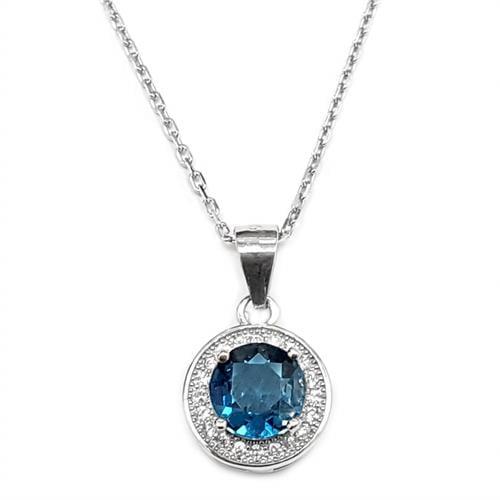 תליון מכסף סוליטר משובץ אבן טופז כחולה ואבני זרקון T5958 | תכשיטי כסף