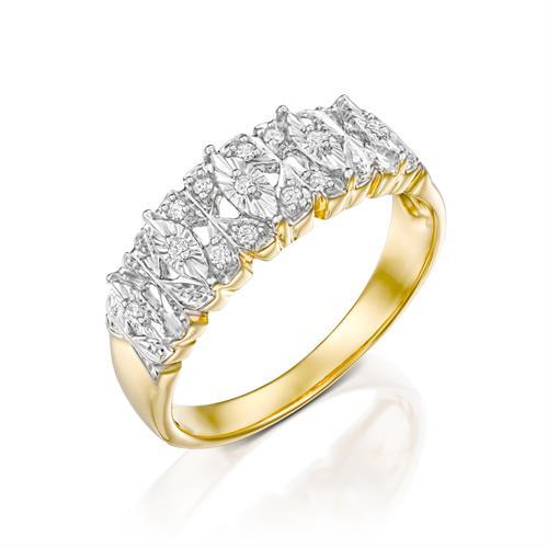 טבעת כח האהבה משובצת יהלומים בזהב לבן 14 קראט