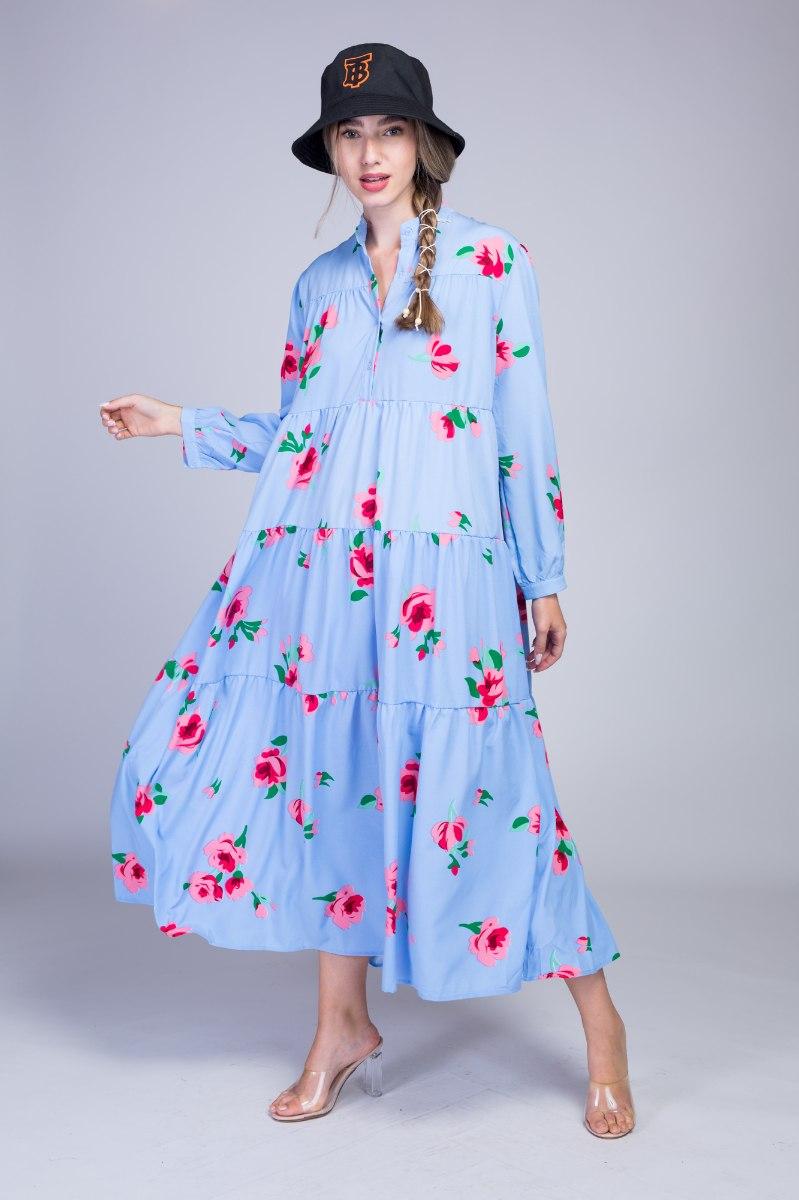 שמלה מקסי קומות פרחים