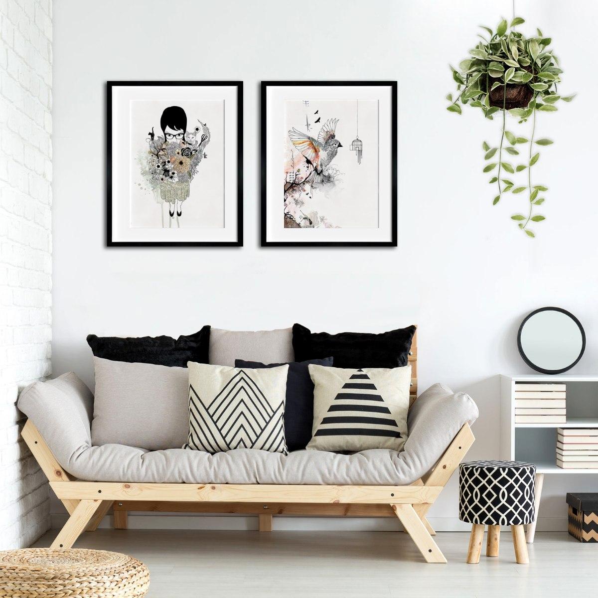 סט של 2 תמונות לסלון - שחור