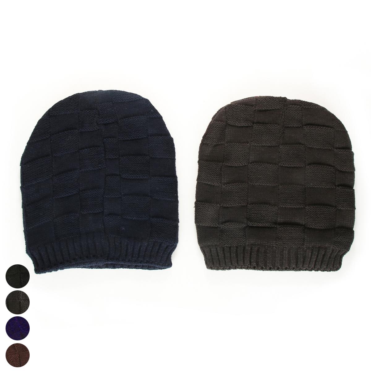 כובע סרוג ריבועים סוליד (גבר)