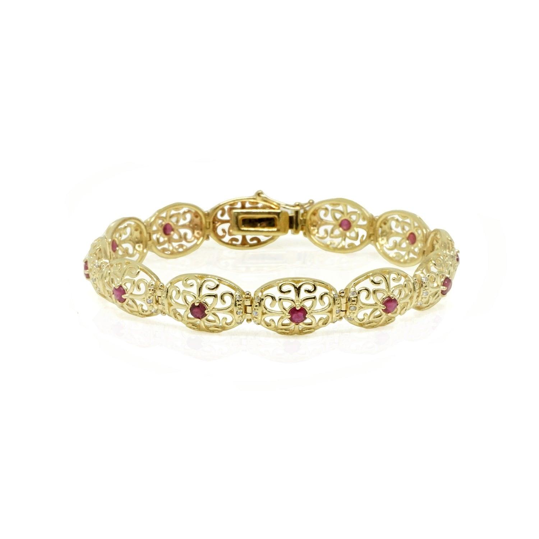 צמיד זהב לאישה בסגנון וינטאג'(עתיק ) צמיד זהב מעוטר לאישה