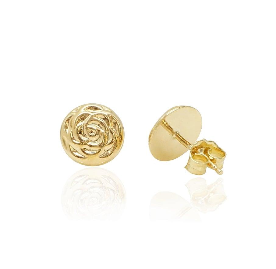 עגילי זהב צמודים בעבודת יד, מעוצבים,עגילי כפתור ,עגילים לכלה