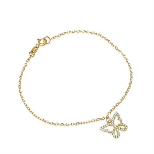 צמיד זהב פרפר עם זרקונים צ'ארם