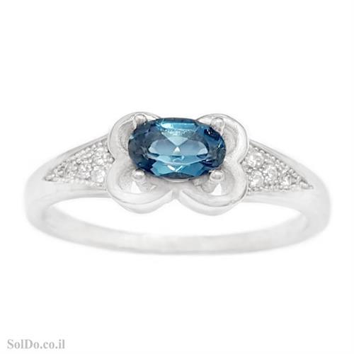טבעת מכסף משובצת אבן טופז כחולה  וזרקונים RG6139 | תכשיטי כסף 925 | טבעות כסף