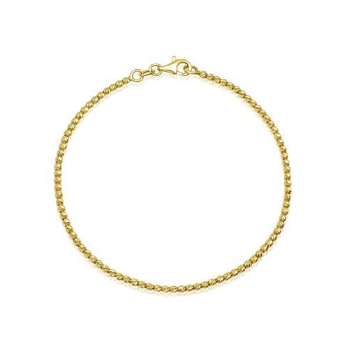 צמיד זהב צהוב כדורי לאישה או נערה דק