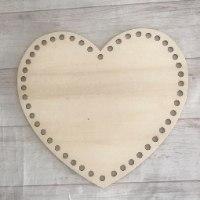 תחתית צורת לב לסריגת סלסלה בחוטי טריקו, בסיס לב גדול לסריגת סלסלה בטריקו, תחתיות עץ לסריגת סלסלות