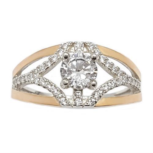 טבעת כסף מצופה זהב 9K משובצת אבני זרקון  RG5942 | תכשיטי כסף | טבעות כסף
