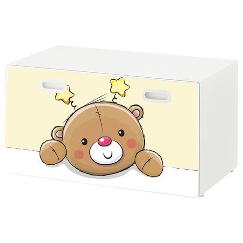 טפט דביק מותאם לספסל אחסון לצעצועים (STUVA)- דובי חום