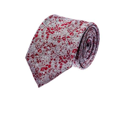 עניבה פרחים קטנים ורוד עתיק אדום