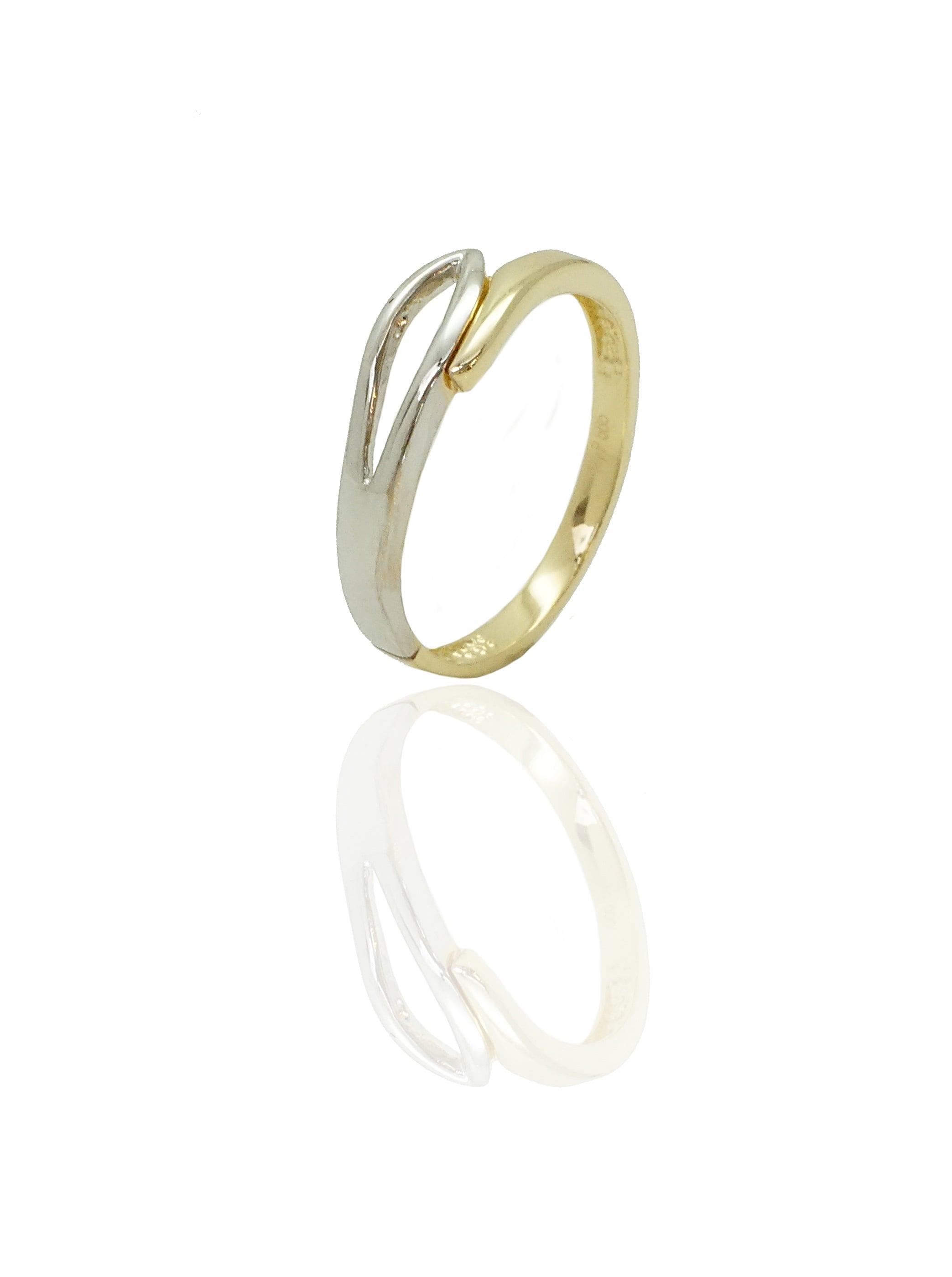 טבעת זהב צהוב ולבן משולבת , זהב 14 קאראט