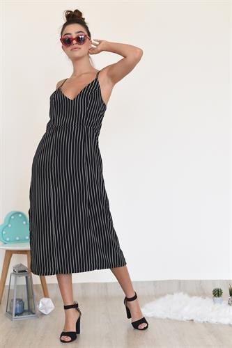 שמלת אמילי שחור פסים