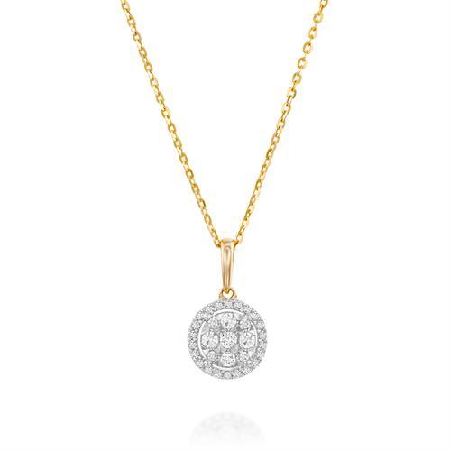 שרשרת ותליון מיתרי היהלום משובץ יהלומים בזהב צהוב 14 קראט