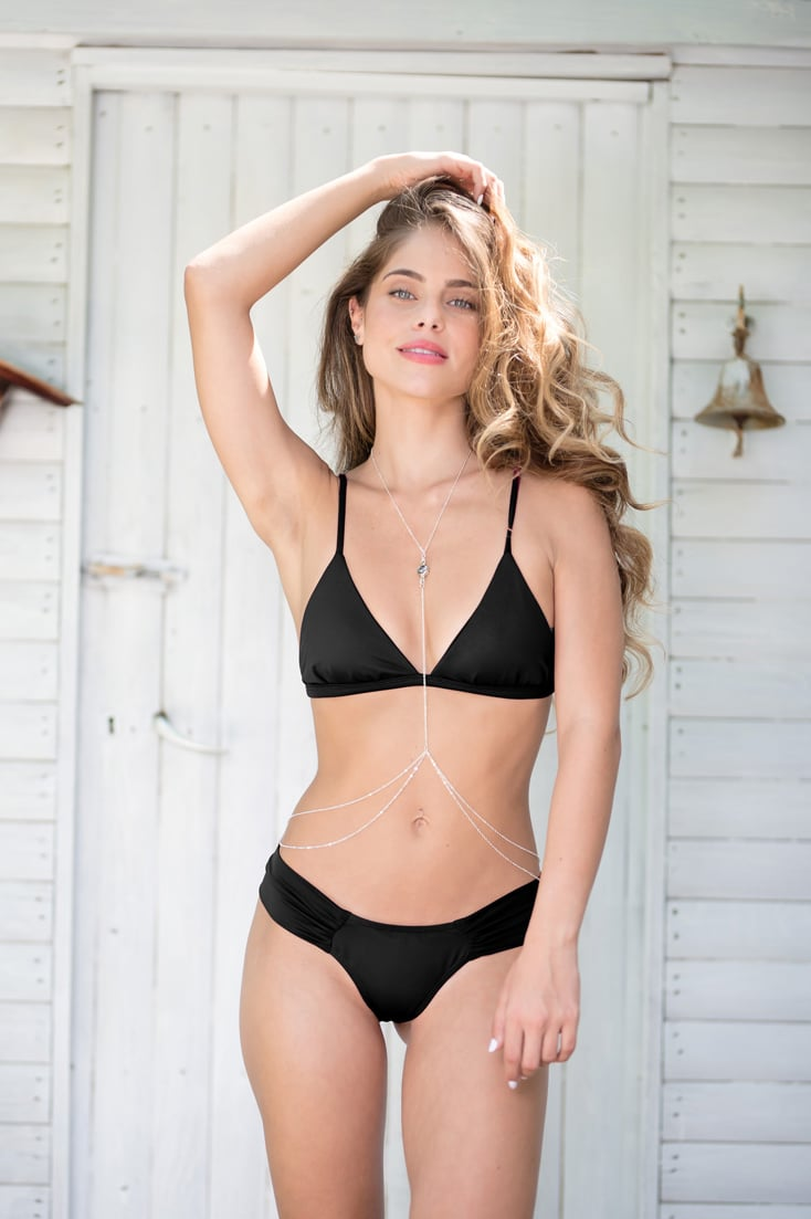 BLACK BIKINI SET- X top/ Fan bottom