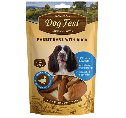 חטיפי Dog Fest אזני ארנב עם ברווז