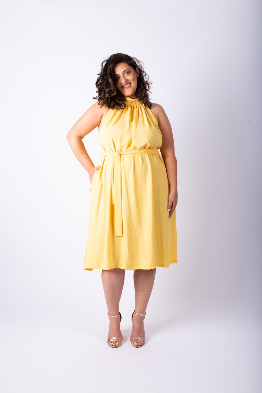 שמלת אליס קצרה בננה