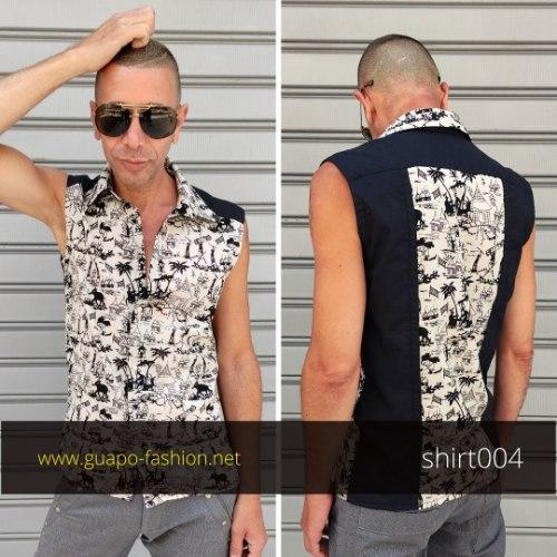 חולצה מכופתרת ללא שרוולים לגברים - שילוב הדפס בהשראת אמנות מצרים