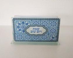מעמד קופסת גפרורים - דגם אריחים כחול