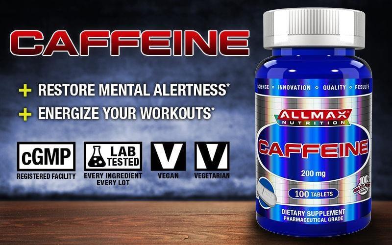 "ALLMAX - caffeine - קפאין 200 מ""ג 100 כדור"