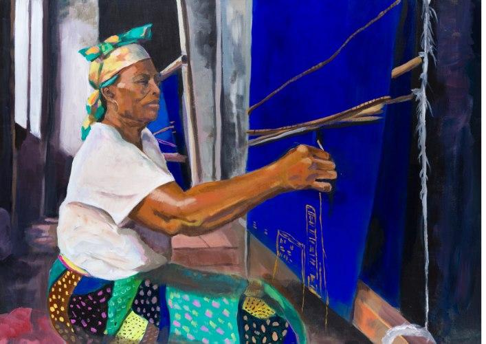 הדפס קנבס - אשה ניגרית אורגת בד
