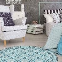 שטיח פי.וי.סי עגול רחביה טורקיז TIVA DESIGN קיים בגדלים שונים
