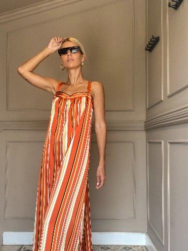 שמלת בילי - סאטן משי פסים