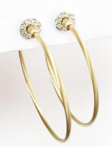 עגילים כבל זהב צהוב ולבן