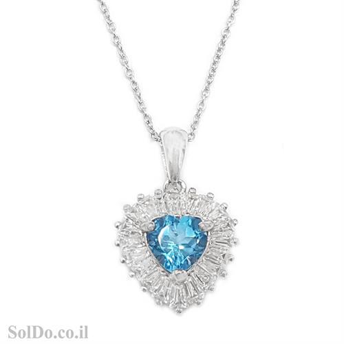 תליון מכסף לב משובץ אבן טופז כחולה ואבני זרקון T6069 | תכשיטי כסף