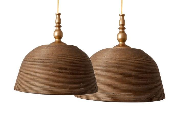 זוג מנורות תקרה במבוק  מגיע בצבע: טבעי מידות: 46X46X24 40X40X21