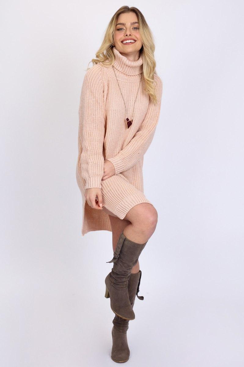 שמלת סריג קייט ורודה