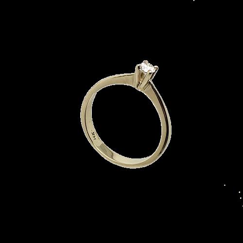 טבעת אירוסין זהב צהוב 14K יהלום מרכזי OP09160084908