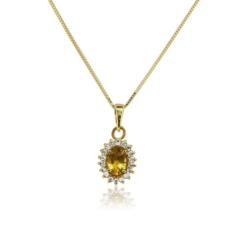 שרשרת ותליון דגם דיאנה בזהב 14 קאראט משובץ אבן חן 1 קראט ו -0.24 קראט יהלומים