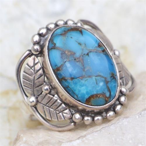 טבעת כסף משובצת אבן טורקיז כחול RG6710