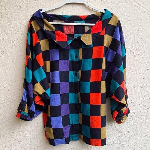 חולצת עטלף משבצות של צבע M/L