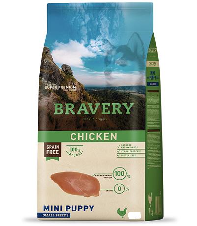 """מזון לגורים מגזע קטן Bravery ללא דגנים 2 ק""""ג"""