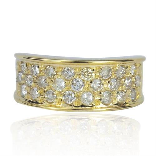 טבעת זהב 14 קרט מעוצבת שלוש שורות ביהלומים 0.85 קראט