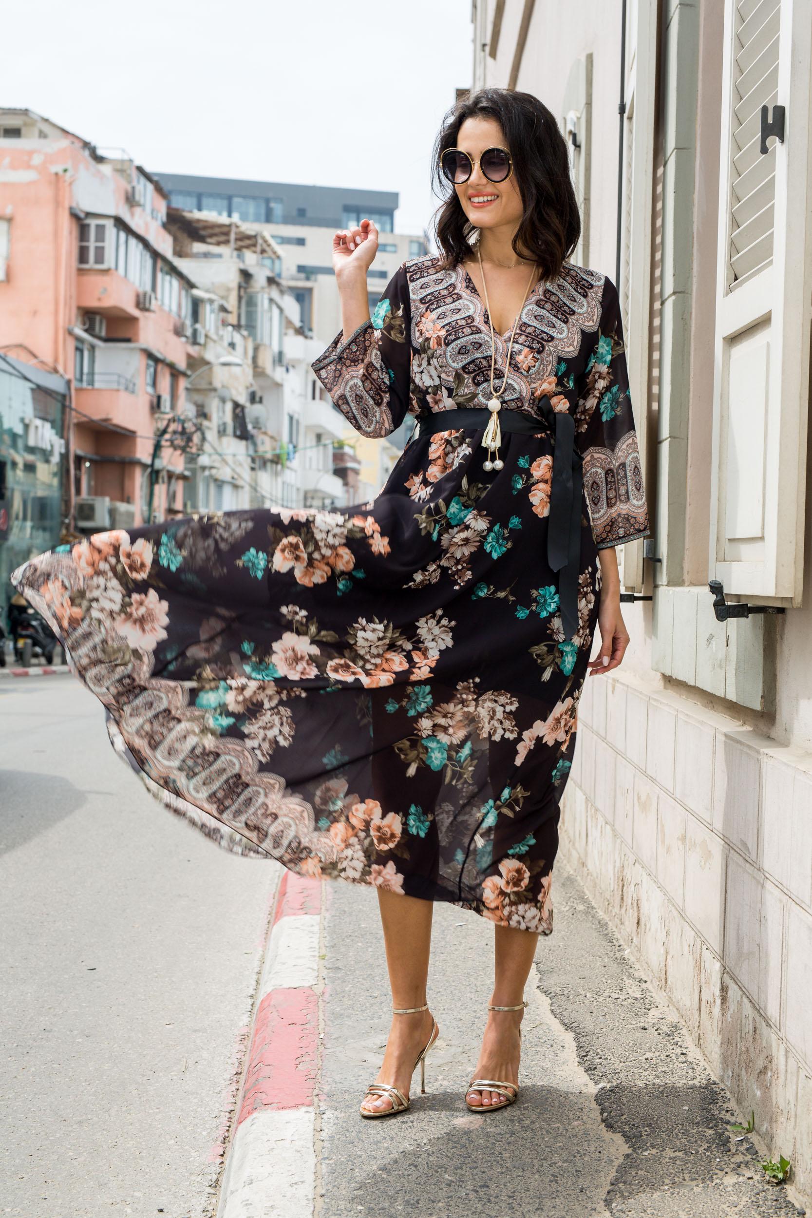 שמלה פרחים שיפון