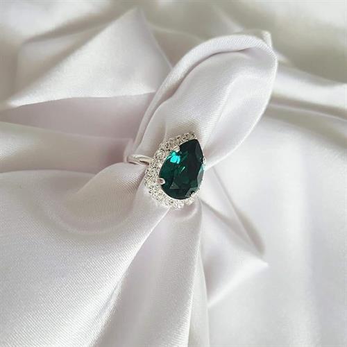 טבעת טיפה סברובסקי מיני- ירוק אמרלד