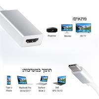 מתאם Dynamode לחיבור Type C לחיבור HDMI 4K