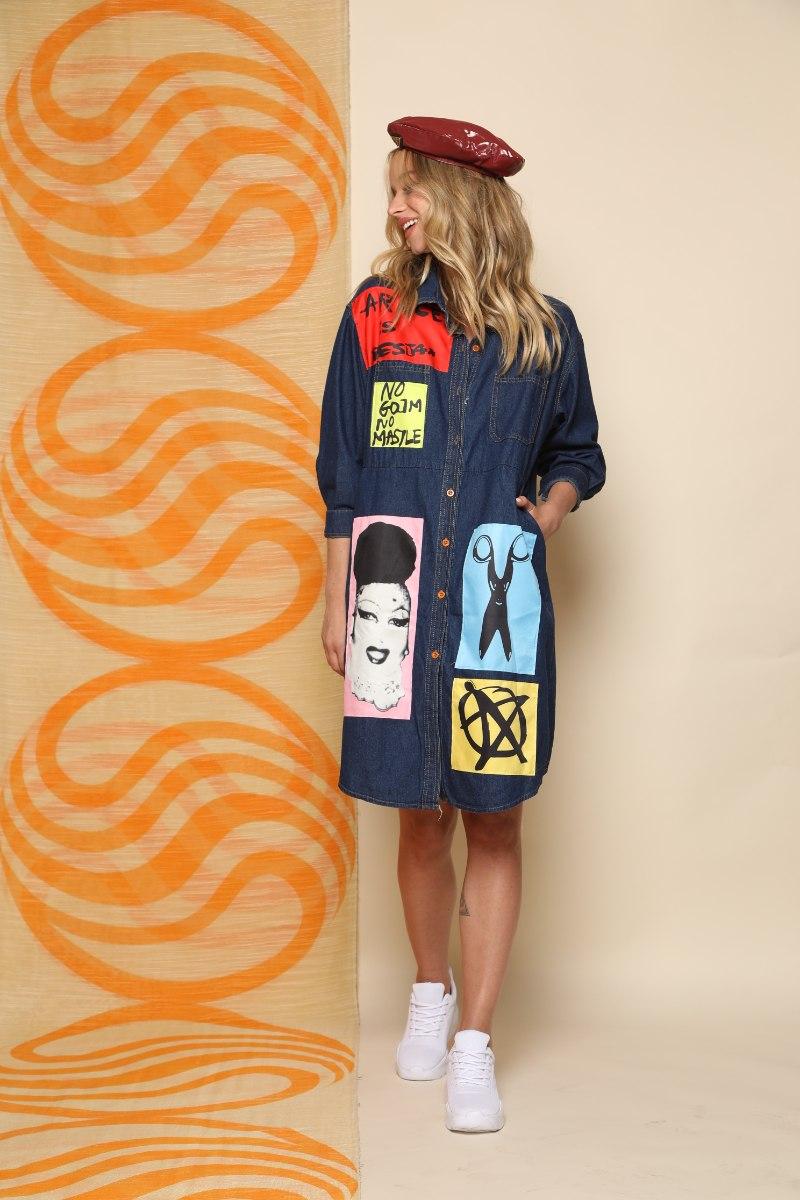 שמלת ג'ינס שילוב פאצ'ים
