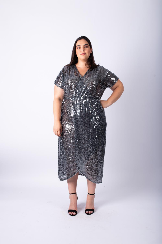 שמלת פייטים אפורה