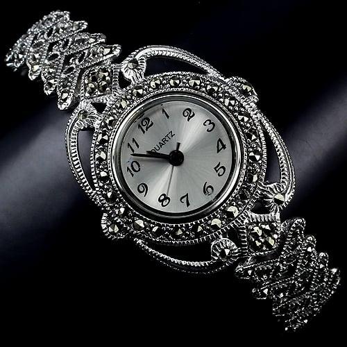 שעון כסף מעוצב SH1511 משובץ Marcasite   תכשיטי כסף